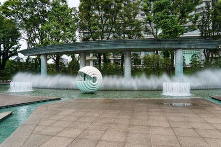 Tokyo, Japan - August 30, 2016: Wadakura Fountain Park in Marunouchi commercial district of Tokyo in Chiyoda