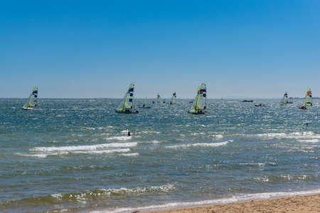 Melbourne, Australia - December 7, 2016: Regata sailing comperition at St Kilda Beach in Melbourne, Australia