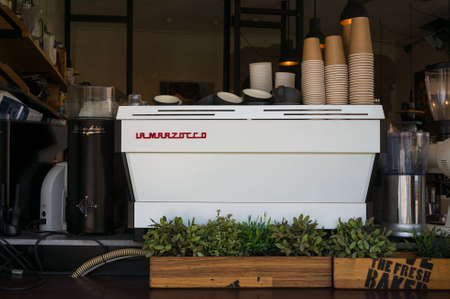 Sydney, Australia - January 26, 2020: Industrial grade coffee machine in an urban coffee shop Editorial