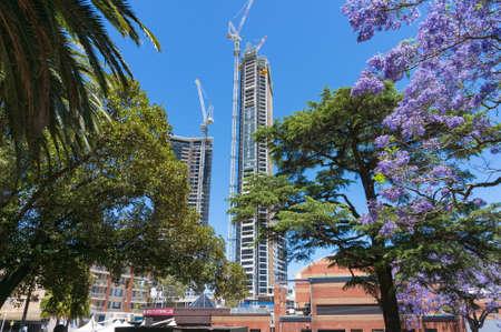 Sydney, Australia - November 12, 2016: Construction of Altitude by Meriton condominium complex in Parramatta suburb