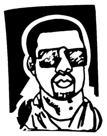 Iconic black man wearing sunglasses, vector illustration.