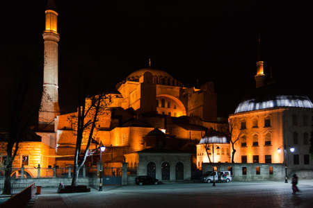 Saint Sofia Church in Istanbul, Turkey, at night