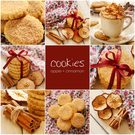Apple cinnamon cookies and coffee set photo
