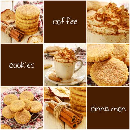apple cinnamon: Montata crema di caff� e biscotti di mele alla cannella impostati