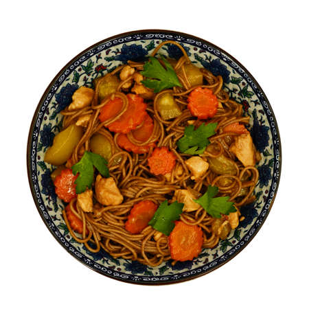 buckwheat noodle: Homemade stewed buckwheat noodle soba with chicken, carrot, squash and coriander leaves isolated on white Stock Photo