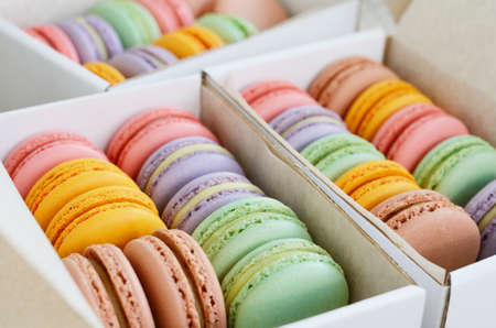 minty: Set of colorful macaroon in pastel tones in the boxes