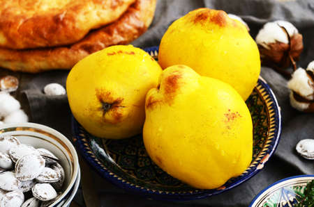 pits: Quinces, flatbread and salty apricot pits in oriental way