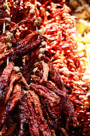 sun dried: Sun dried red paprika at spicy bazaar in Istanbul Stock Photo