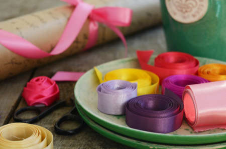 floristics: Set of colorful ribbons and wrappings for floristics and decor Stock Photo