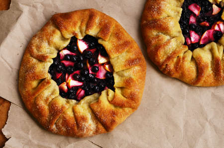 crusty: Homemade crusty galette or open pies with fruits and berries