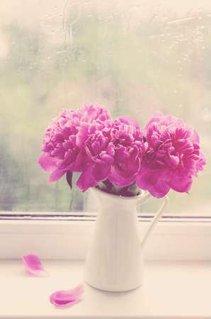 bouquet fleurs: Bouquet de pivoines roses en pichet blanc sur un rebord de fen�tre, effet vintage