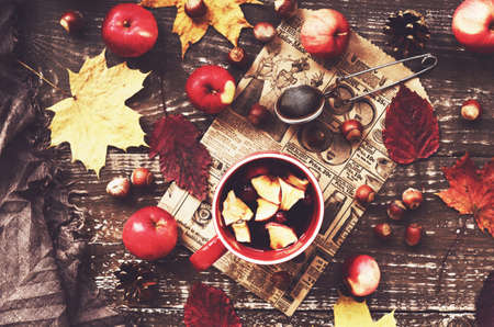 autumn food: Cup of warming tea with apple and cranberry and woolen scarf, tabletop Stock Photo