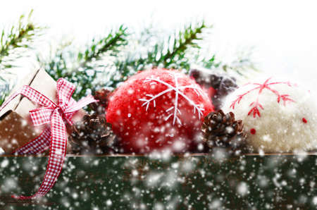 snow flakes: Winter decoration with christmas balls in snow flakes