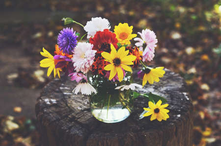 Bouquet of colorful autumn flowers in glass jar