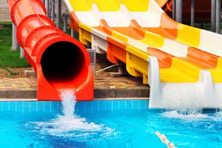 アクアパーク スライダー、アクア水公園 写真素材
