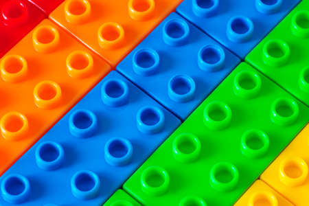plastic bricks: Toy made of colored plastic bricks Stock Photo
