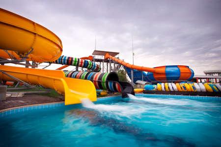 Aquapark sliders, aqua park, water park. Stock Photo