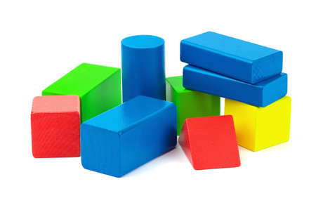 play blocks: Wooden colorful bricks isolated on white background.  Stock Photo