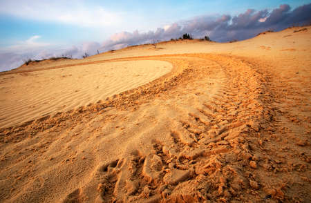 Wheel tracks on sand