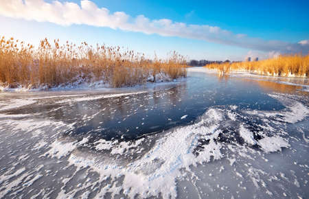 frozen lake: Beautiful winter landscape with frozen lake, reeds and power plant.