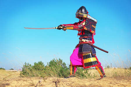greaves: Man in samurai costume with sword. Samurai in ancient armor in a field with sword. Original Character. Stock Photo