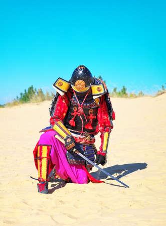 swordsmanship: Man in samurai costume with sword. Samurai in ancient armor in a field with sword. Original Character. Stock Photo