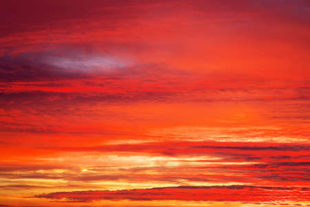 apocalyptic: Fiery orange sunset sky. Apocalyptic sunset sky