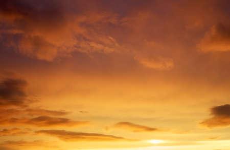 Beautiful stormy sunset sky. Stock Photo