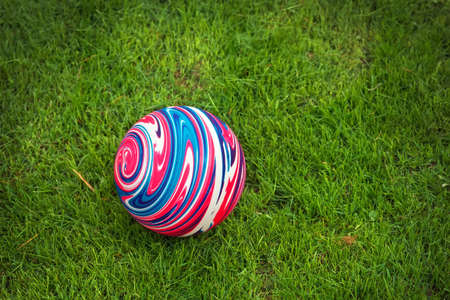 rubber ball: Colorful rubber ball on the green grass.