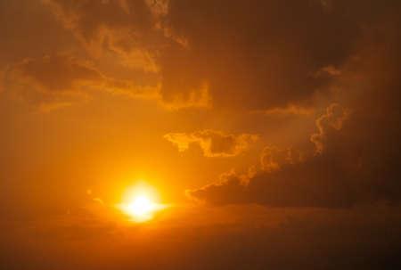 orange sunset: Beautiful fiery orange sunset sky as background