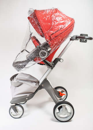 waterproof cape: Norway elite baby carriage on a white background