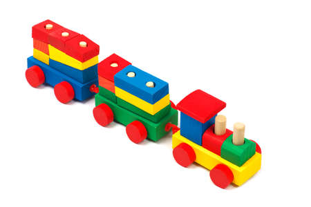 bar magnet: Wooden colorful toy train isolated on white background