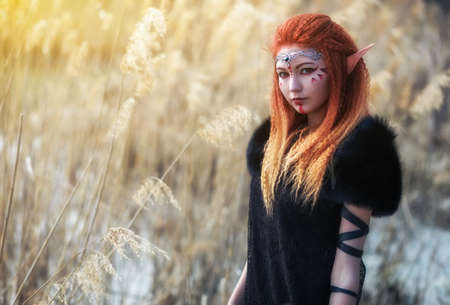 Elf women with fiery hair on nature. Beautiful young fantasy girl. Cosplay character Stock Photo