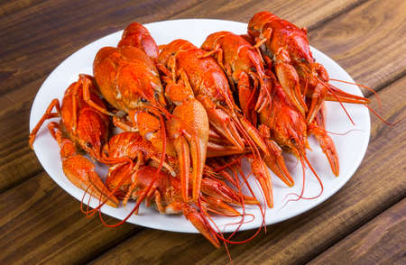pincers: Tasty boiled crayfishes on a white plate