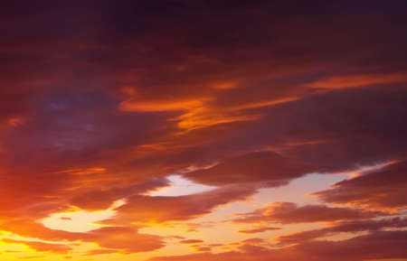 lenticular: Fiery, orange and red colors sunset sky. Beautiful abstract background