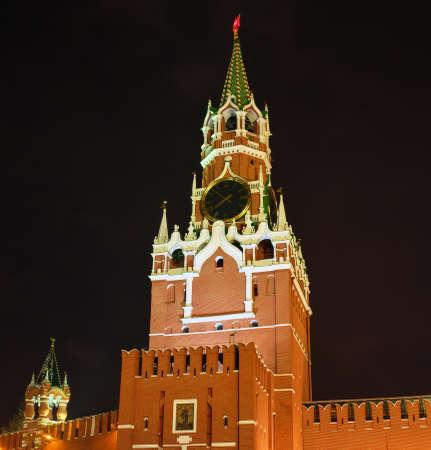 Spasskaya tower of Moscow Kremlin illuminated at night