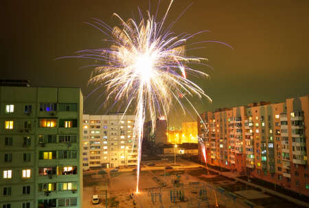 Beautiful fireworks in a residential area during the new years night.