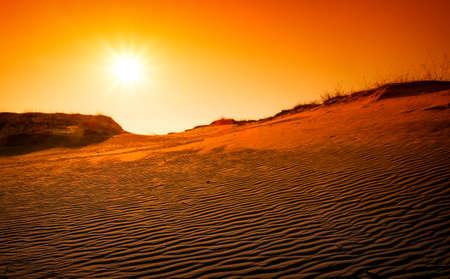 Extreme desert landscape with orange sunset. Golden textured sand   Stock Photo