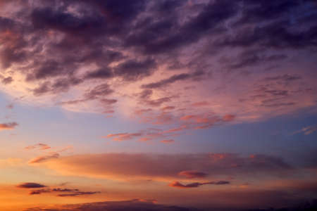 Beautiful stormy sunset sky. Cloudy abstract background.  Stock Photo