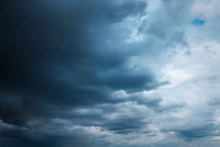 Deep dark sky, storm clouds. Beautiful stormy sky.