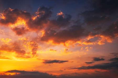 Beautiful fiery orange and red sunset sky.