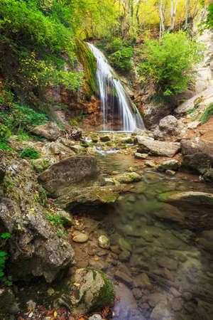 Waterfall Jur-Jur in Crimea. Beautiful autumn landscape