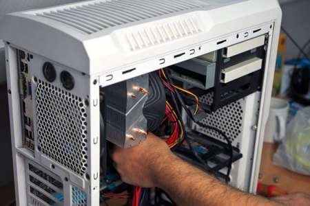 Computer Technician Assembles A Computer. Build A Home Pc Stock Photo