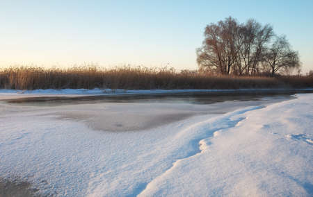 Winter landscape with river, reeds and trees. Composition of nature. Stock Photo