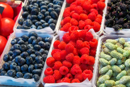 Delicious juicy colorful berries for sale at the market. Raspberry, mulberry, red currant, blueberry and others