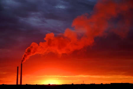 Colorful Magic Sunset. Roofs of city houses during sunrise. Birds flying in the sky. Dark smoke coming from the thermal power plant pipe.