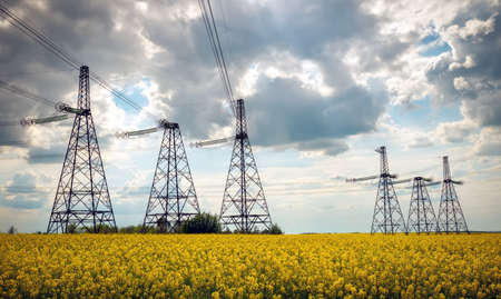 Transmission towers in the middle of a yellow canola field in bloom. High voltage power line at Spring