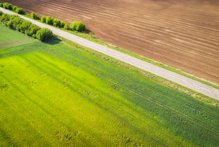 Aerial view of agricultural fields and broken patched road. Natural grass. Imagens - 148480743