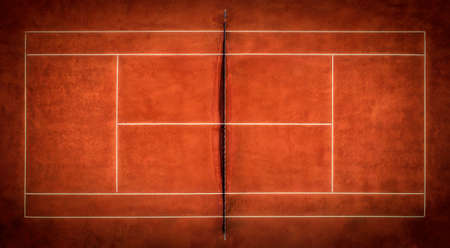 Tennis Clay Court. View from the bird's flight.