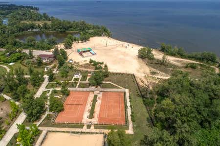 A beach near the city in springtime. Aerial view.